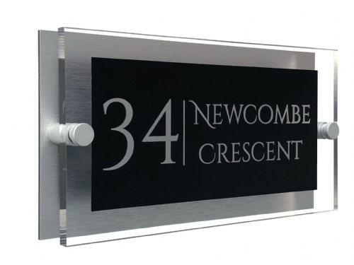 Rectangle Shape - Clear Acrylic House Sign - Black Colour with Silver text in Font  1